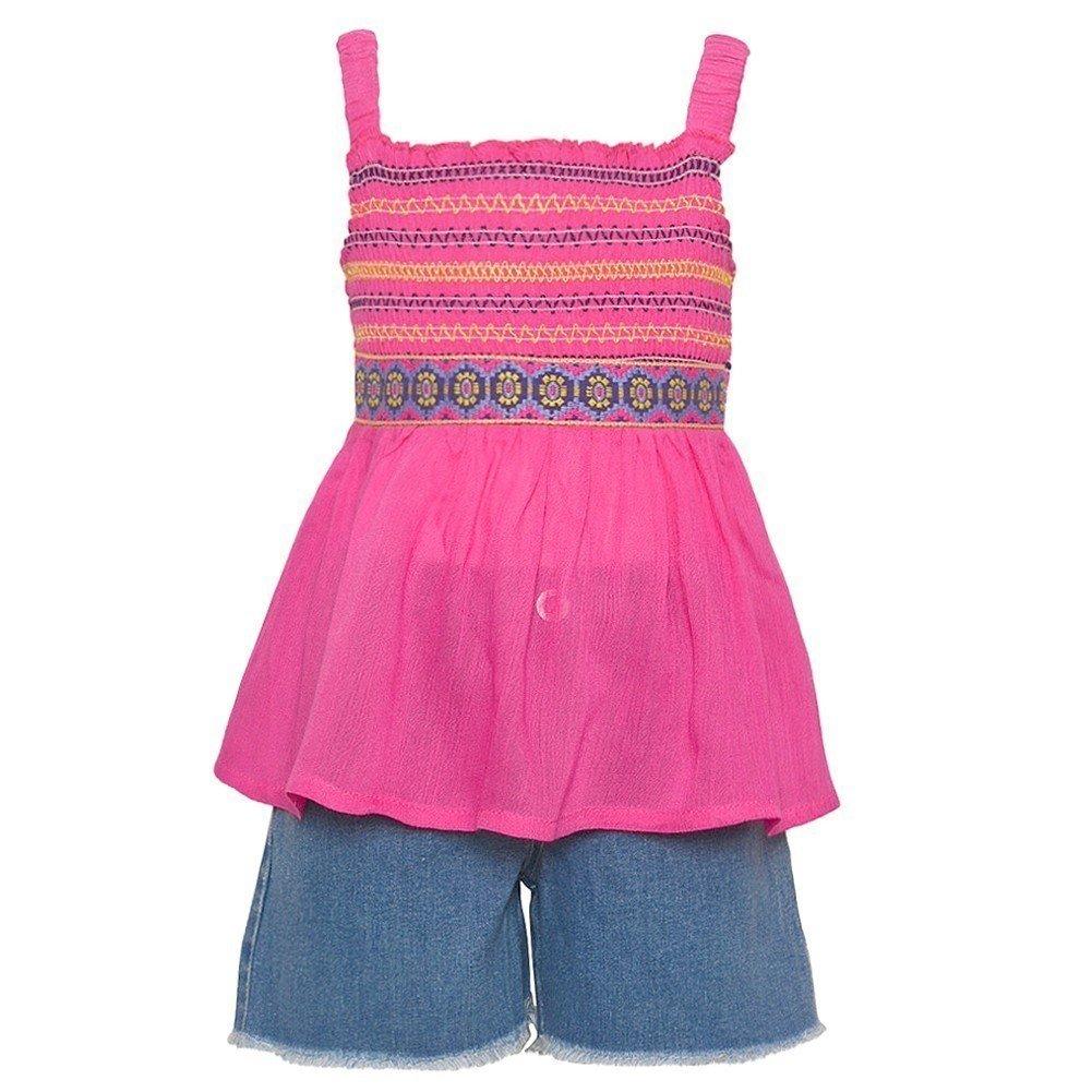 Little Girls Fuchsia Blue Ethnic Motif Print 2 Pc Denim Shorts Outfit 2T-6X