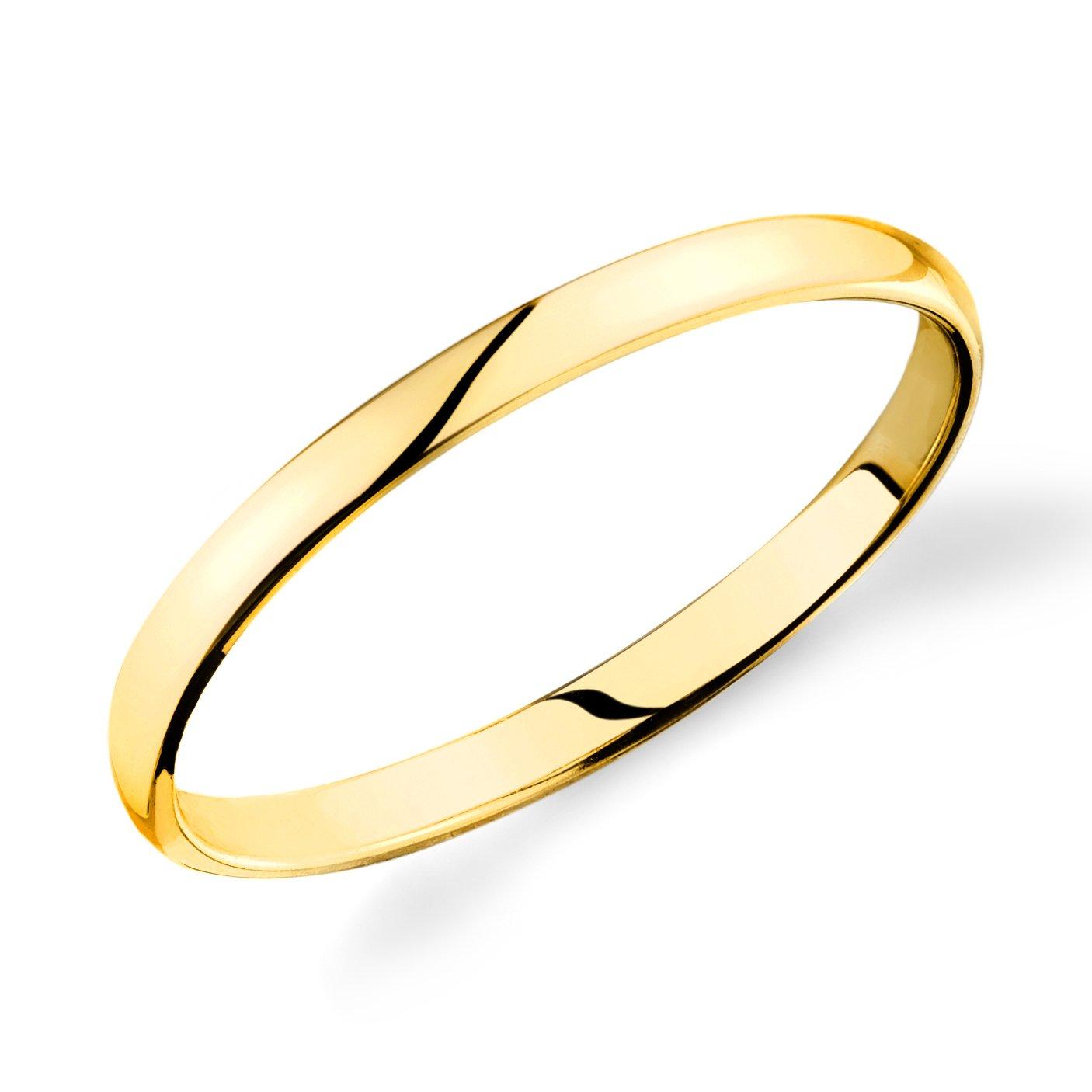 14k Yellow Gold 2mm Plain Wedding Band Light Comfort Fit Ring