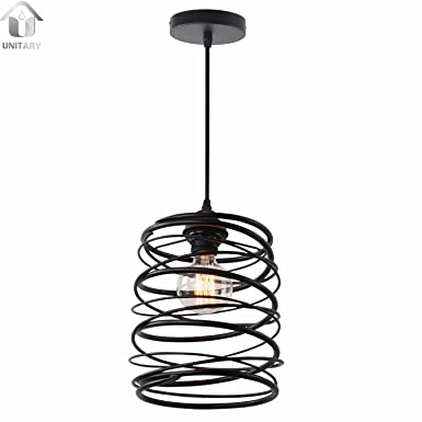 Unitary Brand Antique Black Metal Spiral Shade Pendant Light with 1 Light Painted Finish