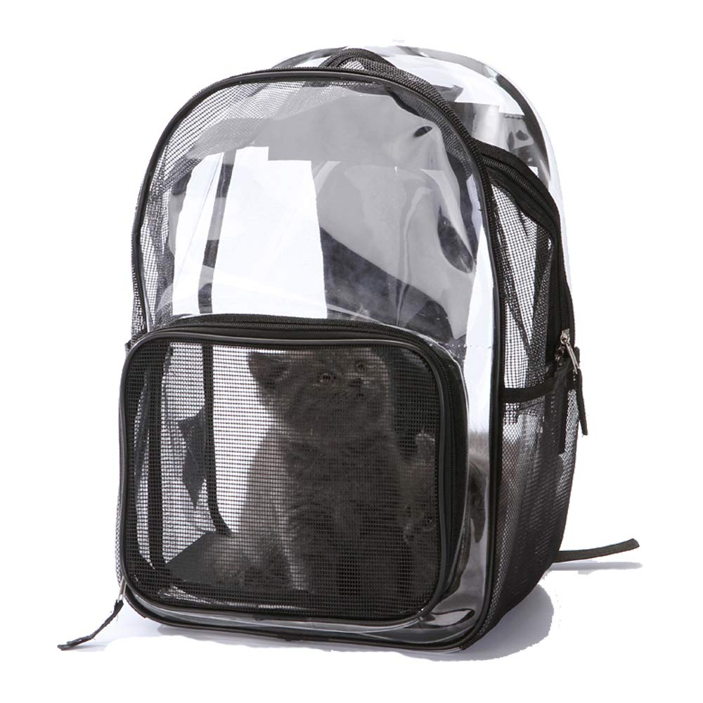 Transparent Herald Pet Carrier Backpack for Small Dogs and Cats Transparent Mesh Breathable Backpack Designed for Travel Hiking Walking & Outdoor Use (Transparent)