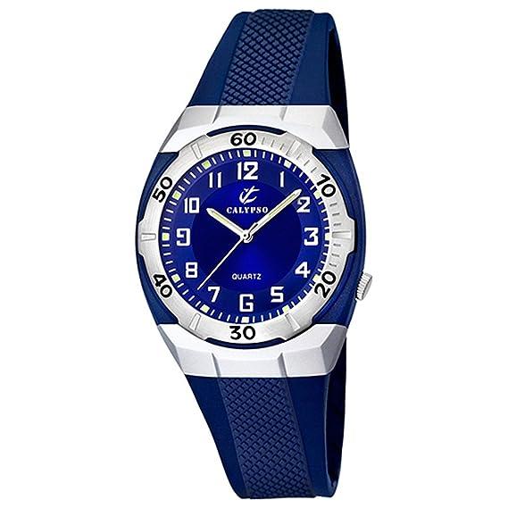 Calypso deportivo reloj de pulsera para hombre mujer analógico de cuarzo de reloj pu negro d1uk5215