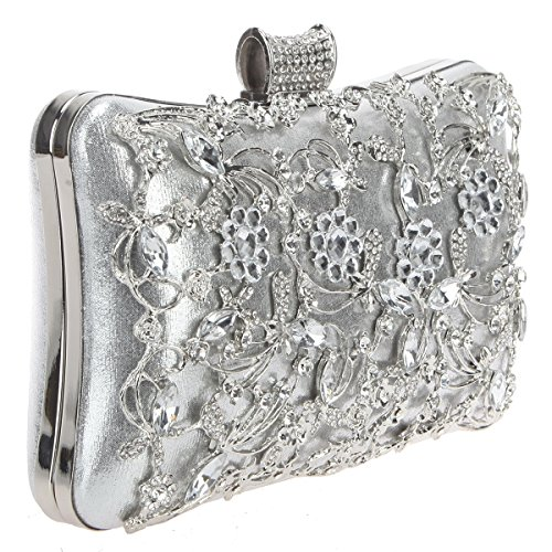 out Women Handbags Metal Flower Purses Hollowed Bonjanvye Crystal Silver For And wWZnxF6aq