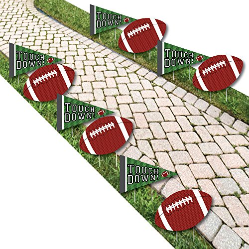 End Zone - Football Lawn Decorations - Outdoor Baby Shower or Birthday Party Yard Decorations - 10 Piece -