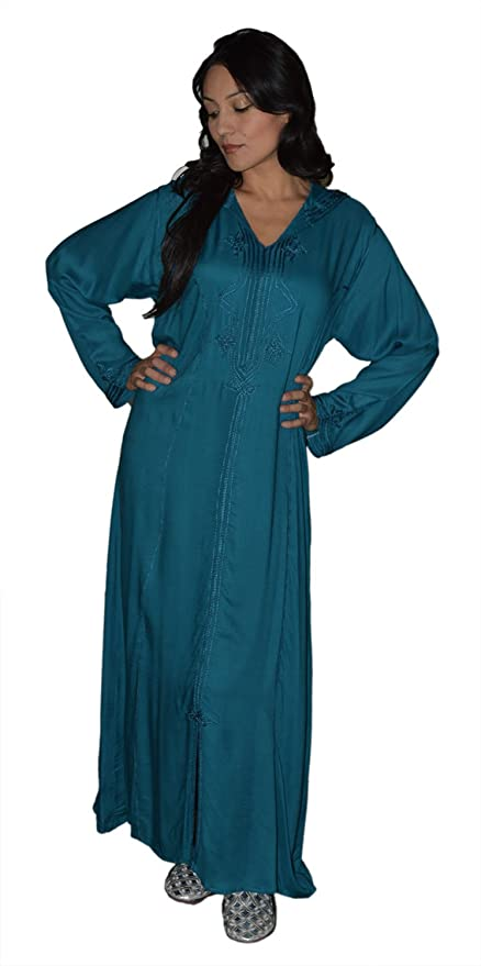 fabd562be576ad Amazon.com  Moroccan Caftans Women Hand Made Djellaba Embroidered Size  Extra Large Teal  Everything Else