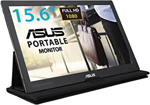 ASUS MB169C+ 15.6 inch Full HD Portable USB Monitor, USB Type-C, IPS, Flicker Free, Blue Light Filter, Smart Case, Gray