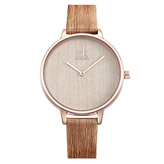 PIJSOADM Relojes para Mujer Watch Women Creative Casual Fashion Wood Leather Watch Simple Ladies Watches: Amazon.es: Relojes