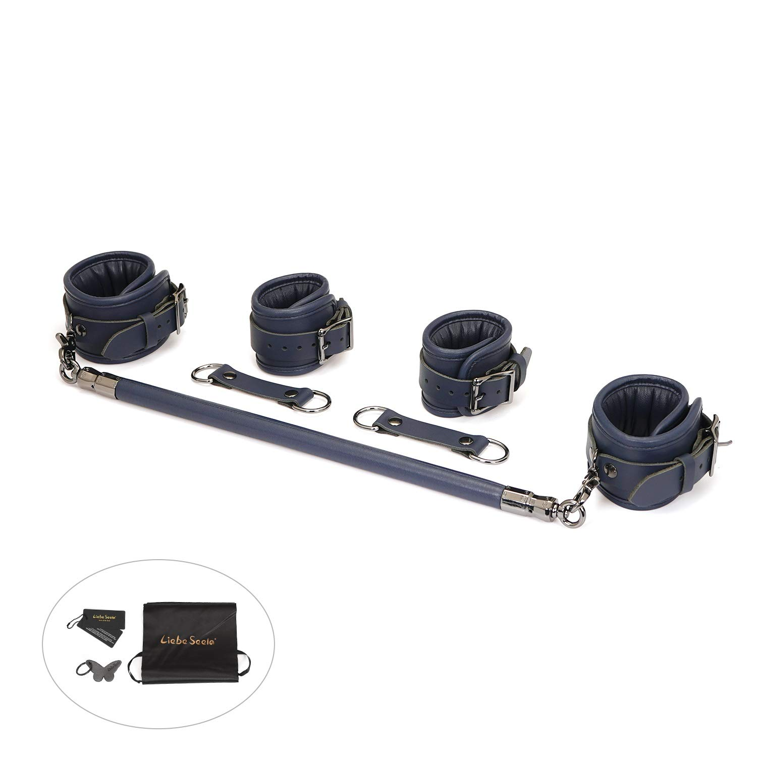 Liebe Seele Wood Spreader Bar with Leather Adjustable Straps Set, Navy by Liebe Seele
