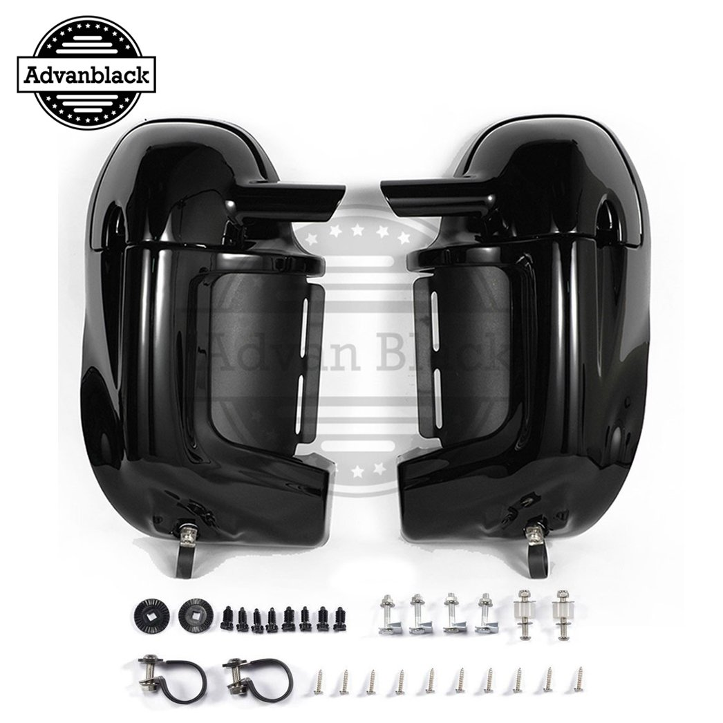 Vivid/Glossy Black Pre-Rushmore Lower Vented Fairings Kit Body Kits Glove Box For Harley Davidson Touring Road King FLHR Street Glide 1983-2016 Advan Black 01-105-1084