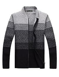 fanhang Men's Slim Fit Zip Up Casual Color Gradient Cardigan Sweater Knitwear