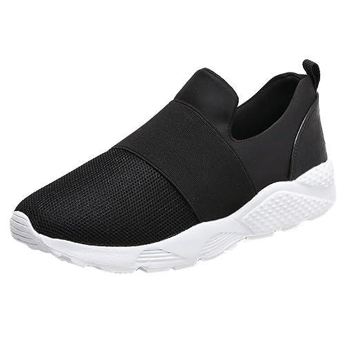 Logobeing Zapatos Planos Running Sneakers Gimnasia Mocasines Zapatos Transpirables de Malla Zapatos Corrientes para Correr Sneakers (39, Negro): Amazon.es: ...