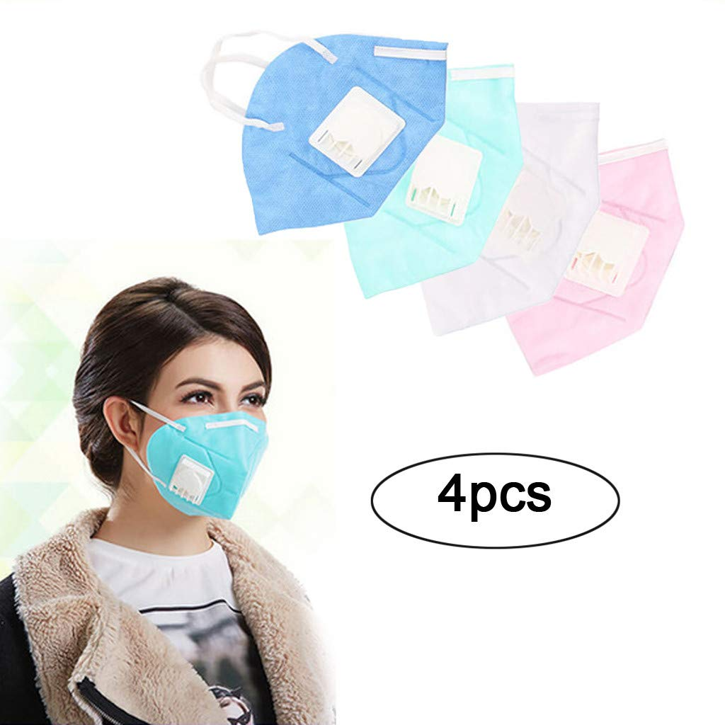 Inverlee Anti Dust Face Mask, 4Pcs Unisex Non-Woven Outdoor Protection Anti Pollution N95 Masks (4Pcs-Multi)