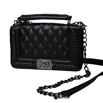 Schwarze Designer Handtasche mit Rautenstepp by Sassyclassy