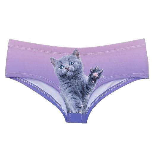 27681f2617d4 Amazon.com: Sexy cat Panties 3D Printing Hello Kitty Purple Sexy ...