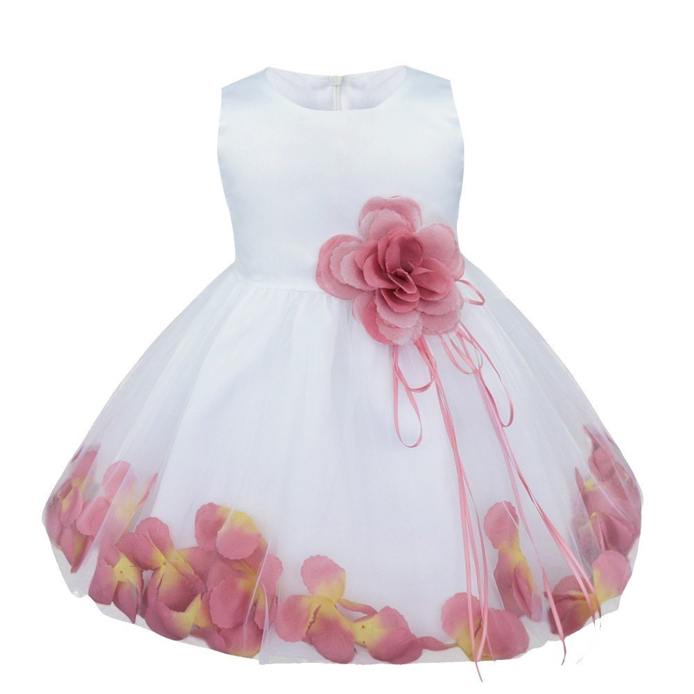TIAOBU Baby Girls Flower Petals Tulle Formal Bridesmaid Wedding Party Dress Puce 12-18 Months