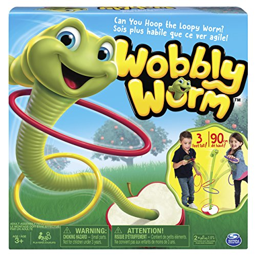 Spin Master Games Wobbly Worm, Ring Toss Game for Kids Aged 3-5, (2-3 Players) (2 For Games Player Kids)