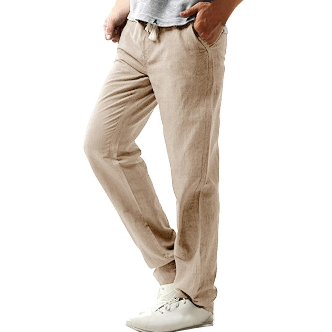 WUAI Clearance Men's Casual Relaxed-Fit Drawstring Slim Strandhosen Linen Hose Pant Solid Trousers (Khaki, US Size 2XL = Tag 3XL)