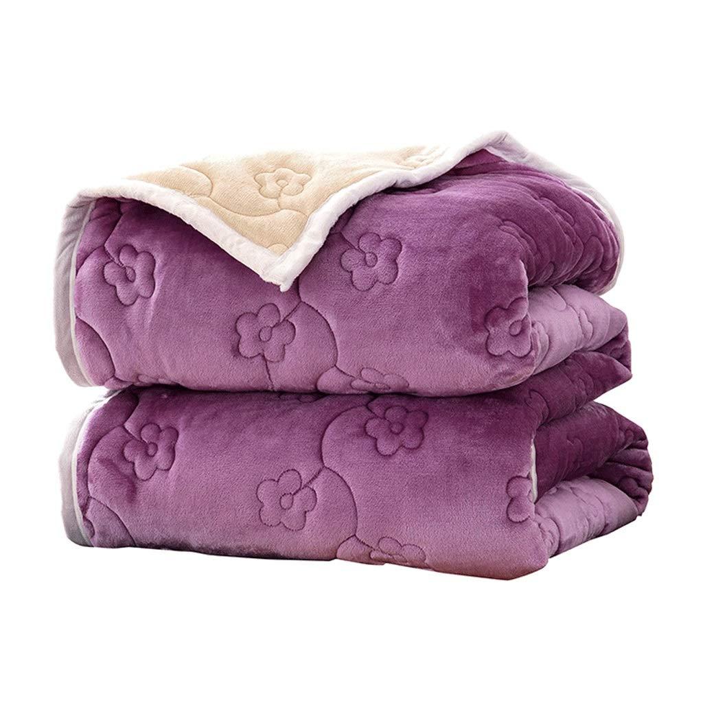 JIANXIN 毛布、コーラルフリース2層ブランケット、冬用大型、超暖かい、マイクロファイバーソリッドブランケット寝具、厚いブランケット厚いキルト、可逆ブランケット (色 : Purple, サイズ さいず : 150cm*200cm) B07J3XHG1P