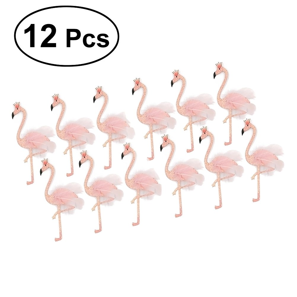 BESTOYARD flamingo party picks Hawaii Party Flamingo Cake Toppers Tropical Cupcake Picks Decoration Cake Decoration,Pack of 12