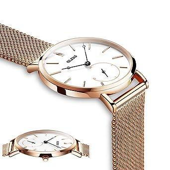 Amazon.com: Relojes para mujer, reloj de oro rosa ...