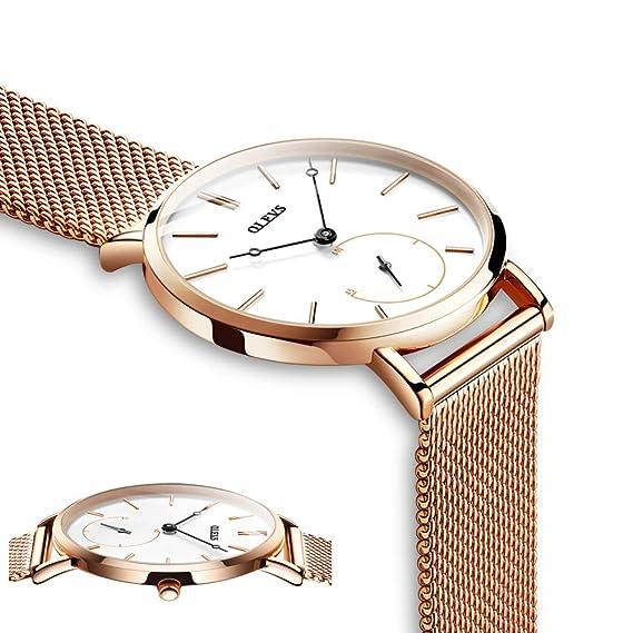 Relojes Oro Rosa para Mujer Marca Olevs Casual Delgado Reloj ...