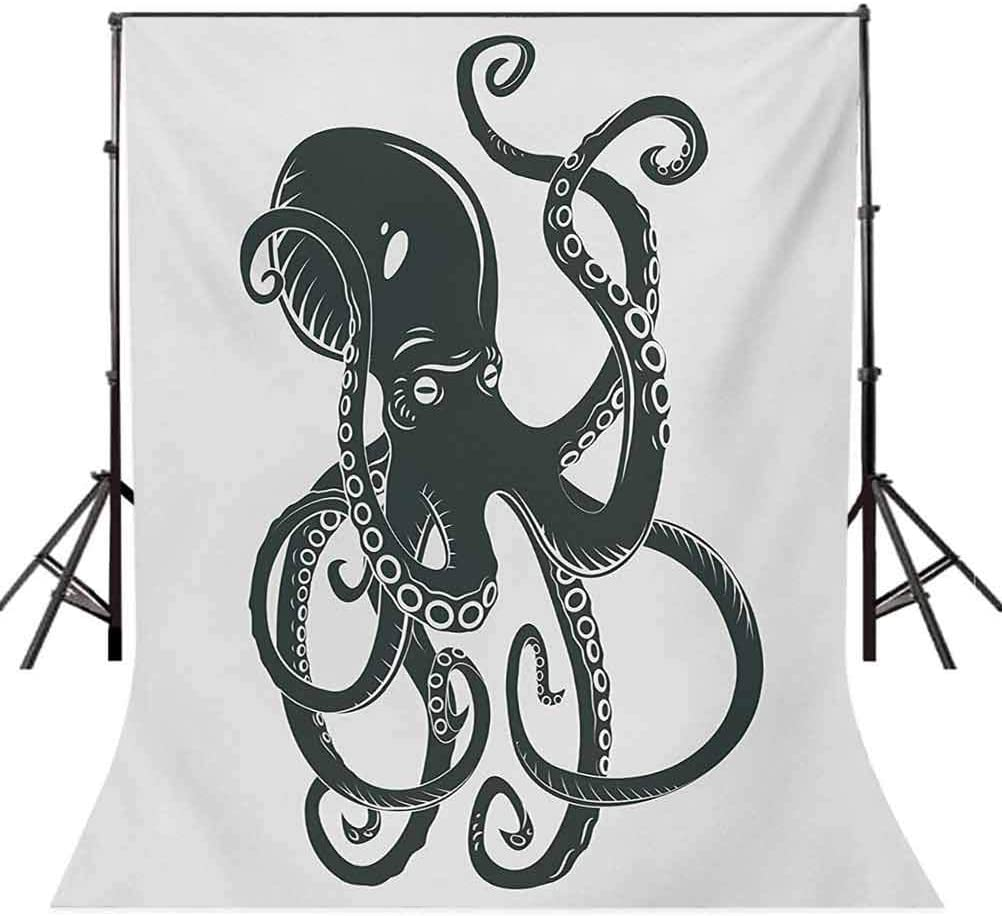 Octopus 10x12 FT Photo Backdrops,Black Danger Cartoon Octopus Characters with Curling Tentacles Swimming Underwater Art Background for Baby Shower Bridal Wedding Studio Photography Pictures Black