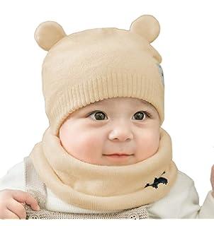 Boomly Nouveau née Bébé Bonnet à Tricoter Ensemble de Foulard en Boucle  Hiver Chaud Beanie Bonnet a82aca6e215