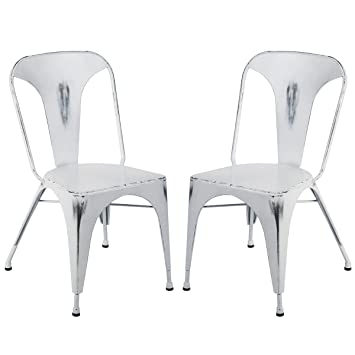 amazon com merax metal dining chairs set of 2 stackable for
