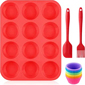 Muffin Pans Silicone Nonstick 12 Cups with Cupcake Liners Brush Spatula Reusable Baking Pans Food Grade Regular Size Molds for Toaster Oven