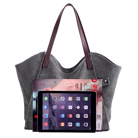 3f24650a99a5 ParaCity Women s Simple Style Vintage Canvas Handbag Shoulder Bag Totes  Shopper Hobo Bag For Women Girls Students (SIMPLE- Gray)  Amazon.co.uk   Kitchen   ...