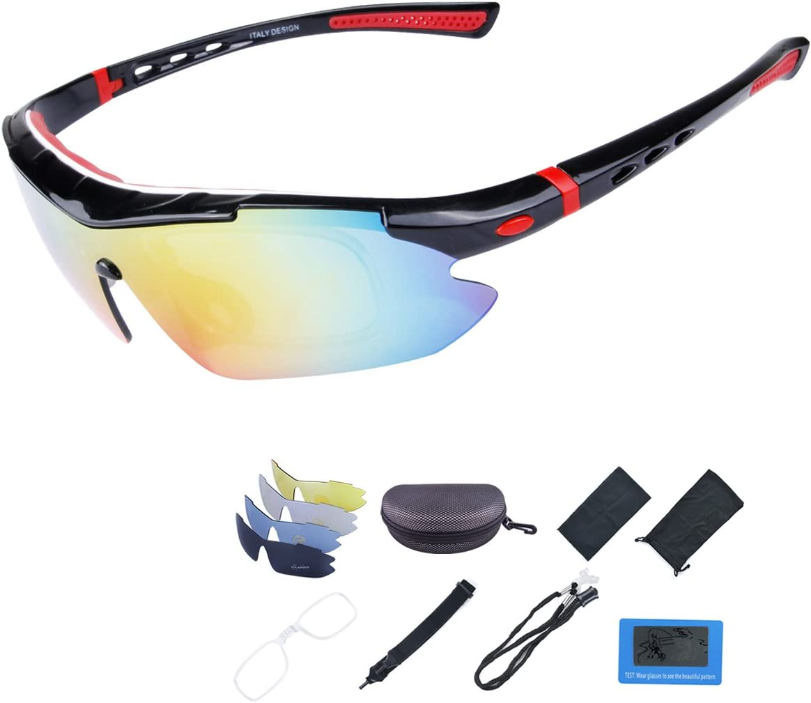 ShareWe Gafas de Ciclismo Unisex Gafas de Sol de Deportivas Polarizadas 5 Lentes Intercambiables para Deporte y Aire Libre Ciclismo Conducir Pesca Ski Esquiar Golf Correr (Negro + Rojo)