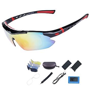ShareWe Gafas de Ciclismo Unisex Gafas de Sol de Deportivas Polarizadas 5 Lentes Intercambiables para Deporte y Aire Libre Ciclismo Conducir Pesca Ski ...