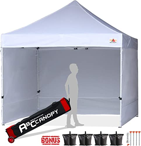 ABCCANOPY Canopy Tent 10×10 Pop Up Canopy Tent Commercial Instant Shade Tent with Upgrade Roller Bag White Canopy with Walls