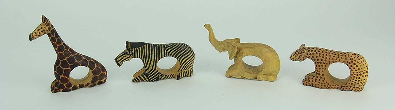 handgeschnitzt 4 St/ück 11,4 x 11,4 x 2,5 cm Things2Die4 Serviettenhalter aus Holz afrikanische Wildtier-Serviettenringe Hellbraun