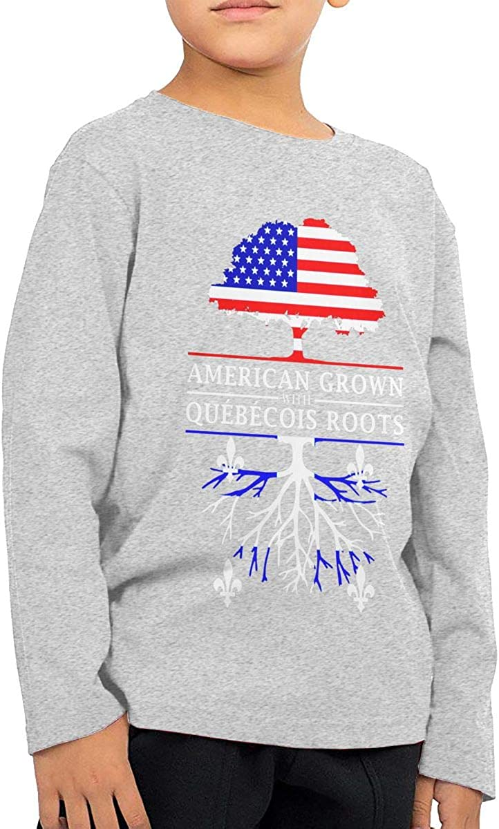 HADYKIDSLOVE American Grown with Quebecois Roots Kids T-Shirt Long Sleeve Boys Girls T-Shirt