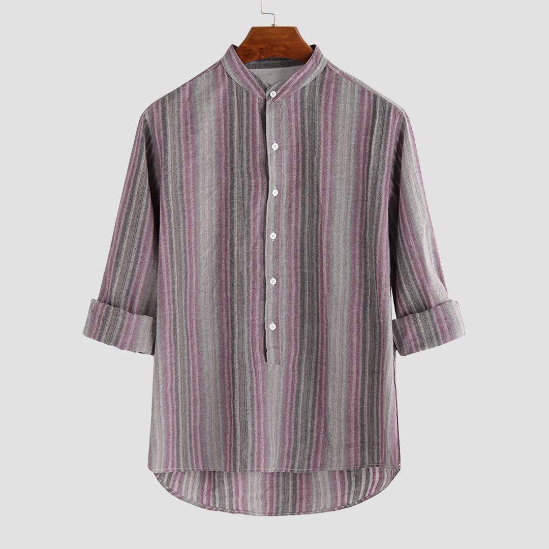 khdug✿ Shirts for Men Summer Mens Cotton Linen Mens Colorful Stripe Sleeve Loose Buttons Casual Shirt BlouseTops