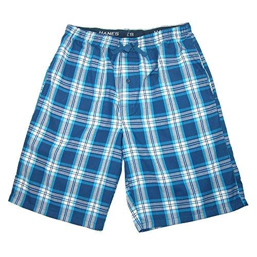 Hanes Men's Cotton Madras Drawstring Sleep Pajama Shorts, Medium, Galapagos Blue (Madras Boxers)