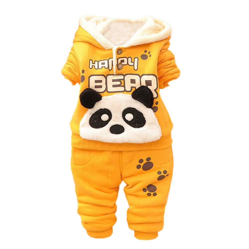 Pottoa Kinder Outfits Set, Baby Kinder Jungen Kleidung Set, Herbst Langarm Cartoon Panda Shirt Trainingsanzug + Hosen Zweiteilige Anzug