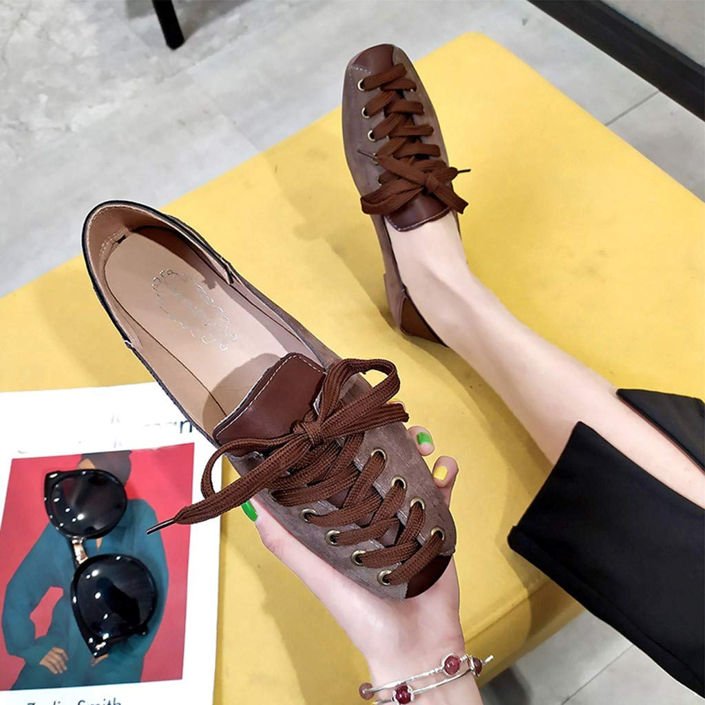 Meigeanfang Womens Fashion Flock Shallow Lace Up Casual Falts Wild Shoes for Women