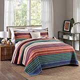 Pure Cotton 3-Piece Quilt Set, Stripe Print Bedspread Set, Coverlet Bed-cover (King)
