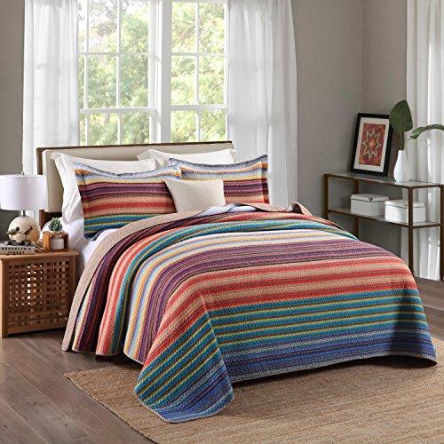 Pure Cotton 3-Piece Quilt Set, Stripe Print Bedspread Set, Coverlet Bed-cover (King) (Four Seasons Quilt Shop)