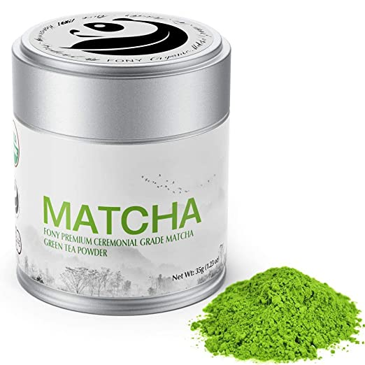 FONY 35g Japanese Matcha Green Tea Powder, USDA Organic - Authentic Ceremonial Grade (Premium, Tin)