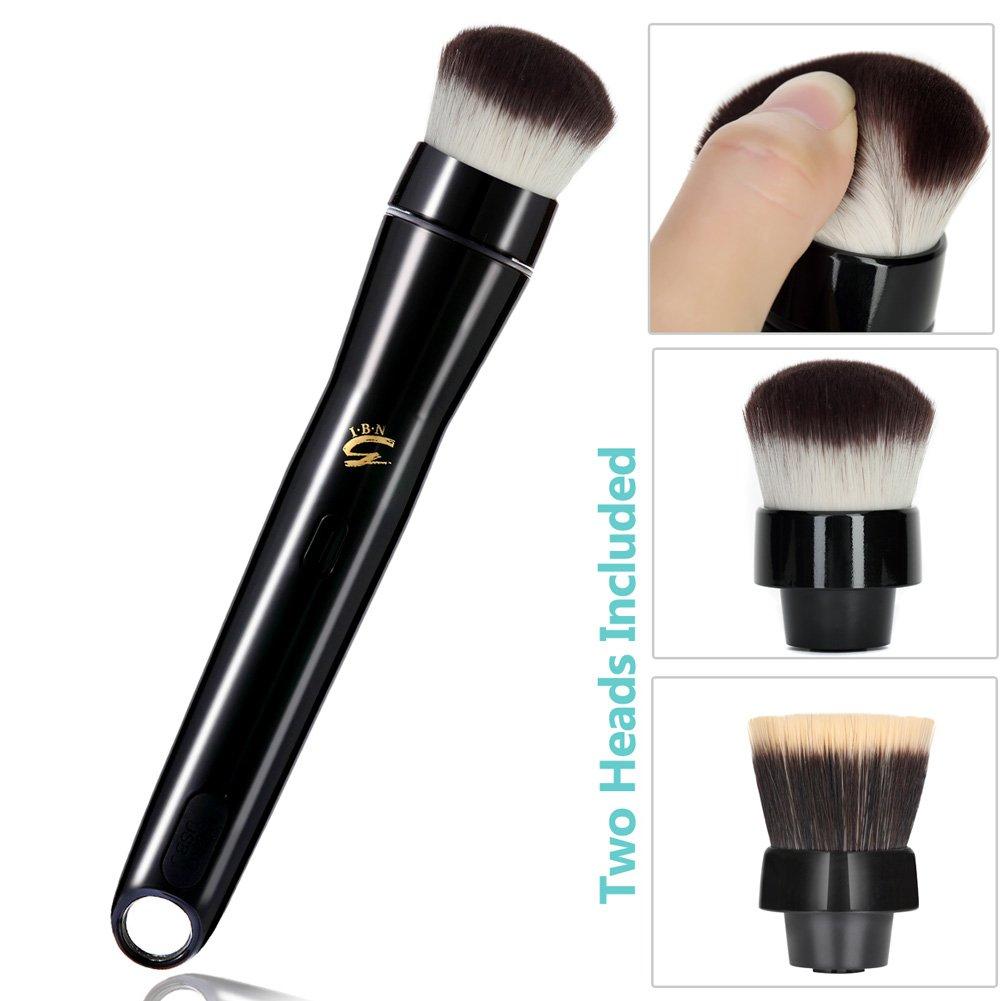 Electric Makeup Brush, Professional Rotation Kabuki Makeup Brushes with Foundation Blush (Powder) Brushes Heads, USB Rechargeable, Black I.B.N
