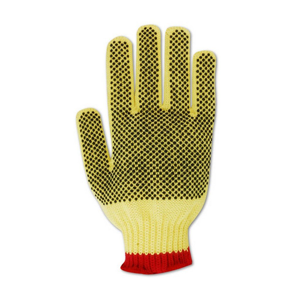 Magid Glove & Safety C93KVPR-9 Magid Cut Master C93KVPR 100% Kevlar PVC Dotted Gloves with Cotton Edge - Cut Level 3, 6, Yellow, 9 (Pack of 12)
