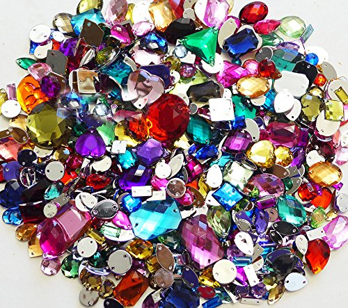 LOVEKITTY 350 pcs lot - Sew-On Gems Mixed Colors & Shapes Flat Back Gems (Mixed sizes 3mm -- 40mm Has thread holes) by lovekitty