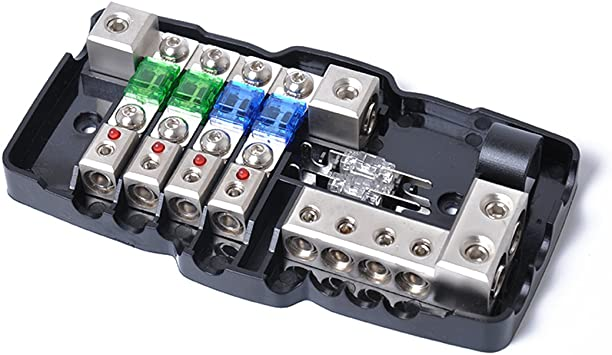 Amazon.com: Multi-functional LED Car Audio Stereo ANL Fuse Holder  Distribution 0/4ga 4 Way Fuses Box Block 30A 60A 80Amp: AutomotiveAmazon.com