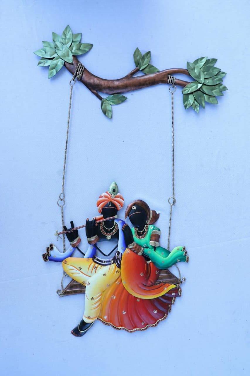 f3e0d0d6f84 Buy Tejas Enterprises Wrought and Cast Iron Radha Krishna Wall Hanging Jhula  (60.96 x 40.64 x 2.39 cm