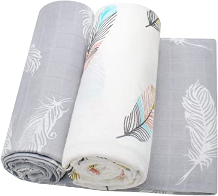 Feather Print Bamboo Cotton Muslin Squares for Baby Girls or Boys LifeTree Baby Muslin Cloths Large Baby Swaddle Blanket
