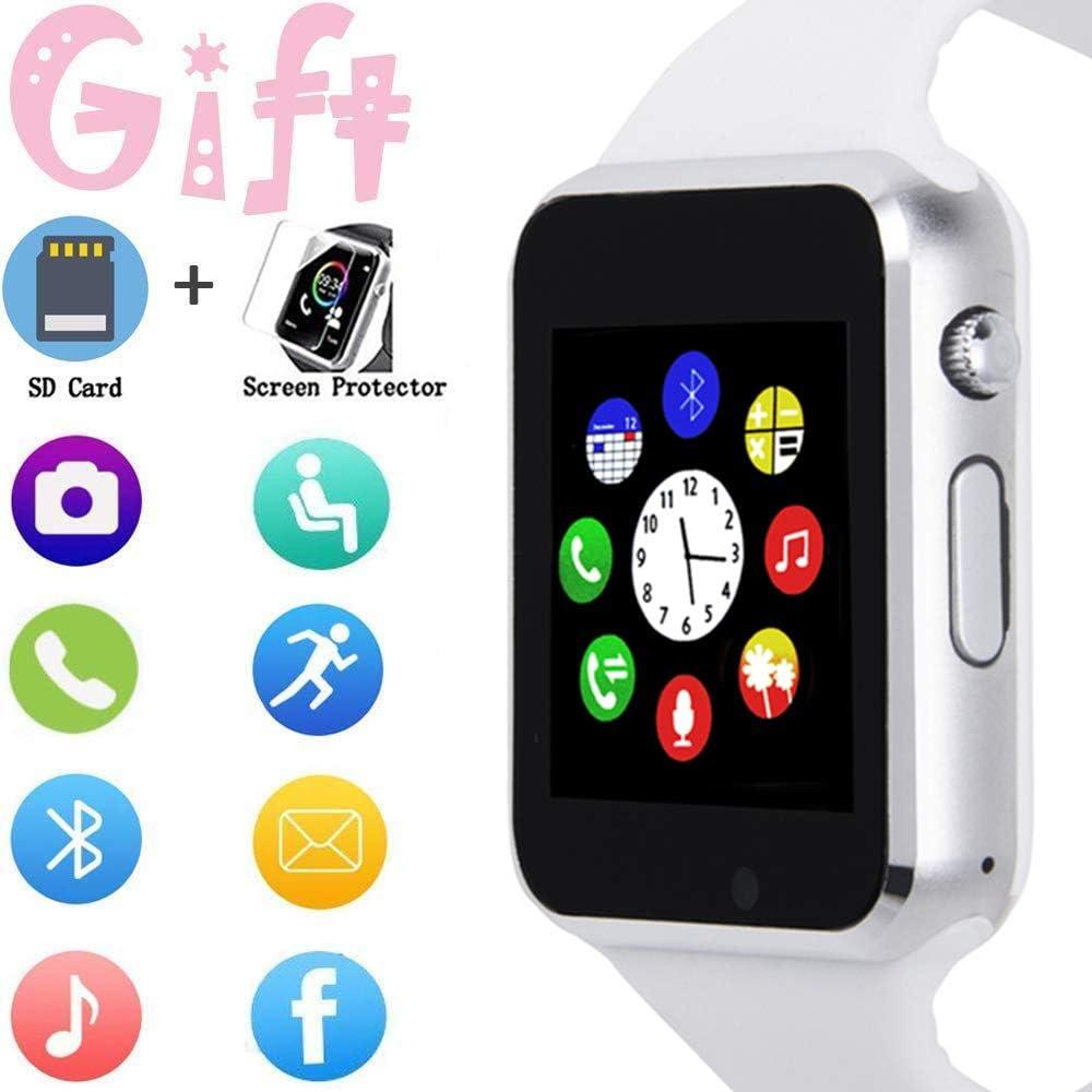 Reloj Inteligente, Pantalla táctil, Reloj de Pulsera Deportivo, para Android iOS podómetro, Reloj Inteligente con Ranura para Tarjeta SIM, Compatible con Samsung Hombres y Mujeres