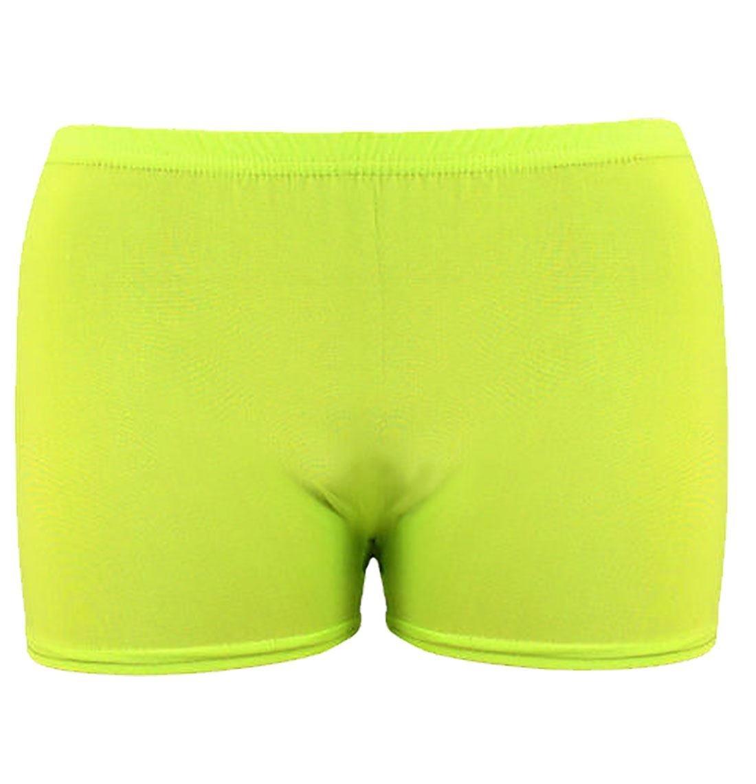 Rimi Hanger Children Plain Stretchy Neon Hot Pants Girls Dance Gym Lycra Party Tutu Shorts Neon Yellow 5-6 Years