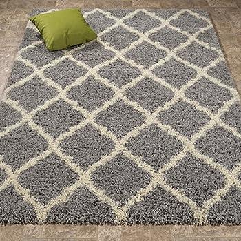 ottomanson ultimate shaggy collection moroccan trellis design shag rug bedroom and living room soft shag
